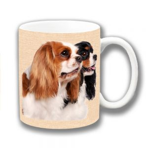 King Charles Spaniels Coffee Mug Two Cavalier Texture