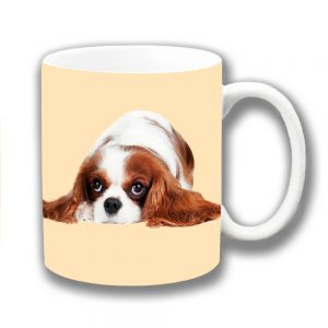 King Charles Spaniel Coffee Mug Ruby White Pup Laying Side