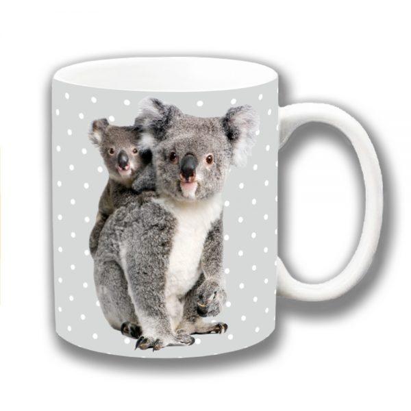Koala Coffee Mug Australian Wild Animal Mum Baby Polka