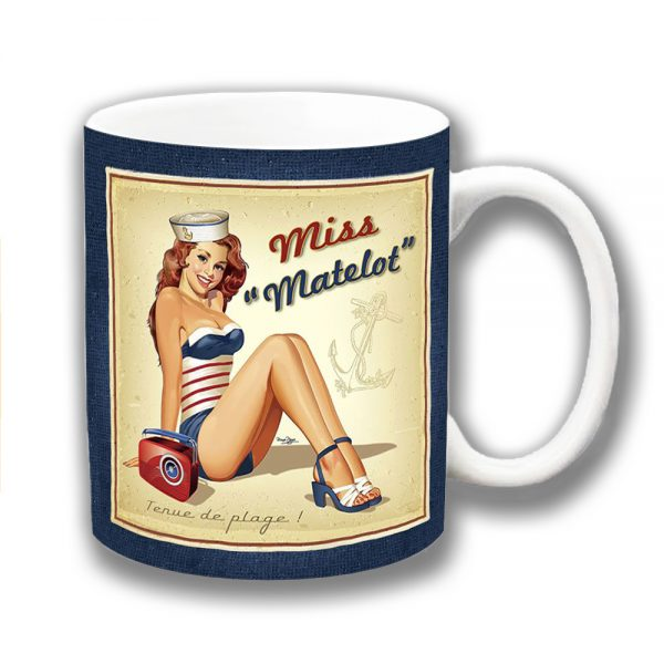 Sailor Girl Coffee Mug Vintage Retro Miss Matelot Swimsuit