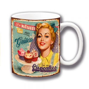 Cupcakes Coffee Mug Vintage Retro French Mottled