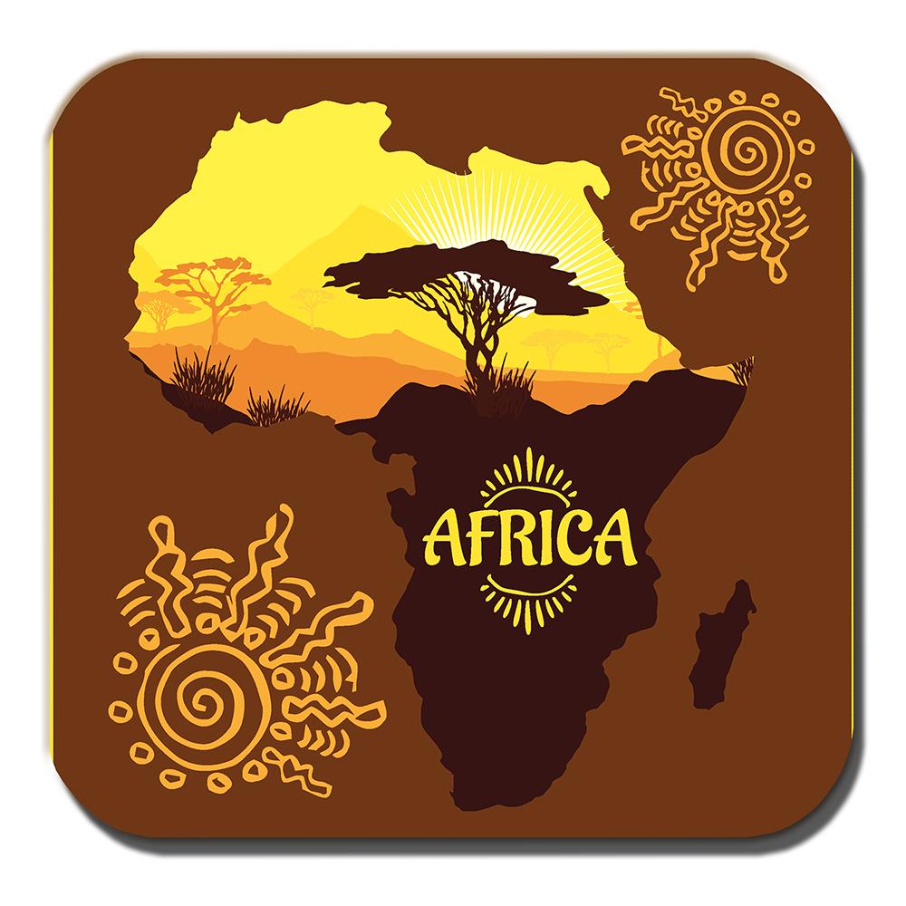 Africa Map Coaster Kilimanjaro Mountain Scenery Brown