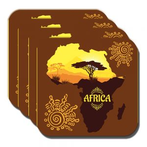 Africa Map Coaster Kilimanjaro Mountain Scenery Brown - Set of 4