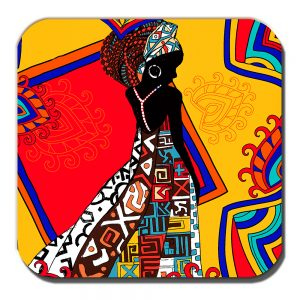 African Tribal Lady Coaster Ethnic Theme Orange Multicolour
