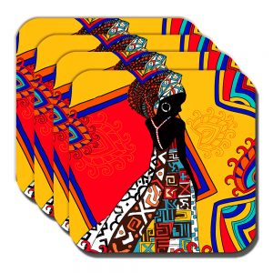 African Tribal Lady Coaster Ethnic Theme Orange Multicolour - Set of 4