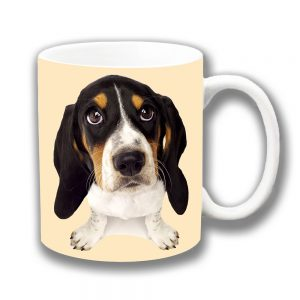 Basset Hound Puppy Dog Coffee Mug White Black Tan