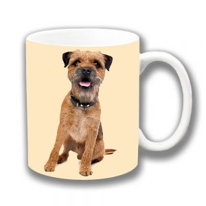 Border Terrier Dog Coffee Mug Adult Tan Leaning Ceramic