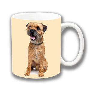 Border Terrier Dog Coffee Mug Adult Tan Side Ceramic