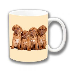 French Bordeaux Puppy Dogs Coffee Mug Four Cute Pups