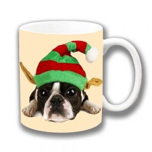 Boston Terrier Puppy Dog Coffee Mug Christmas Elf Hat