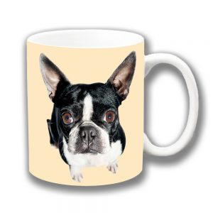 Boston Terrier Dog Coffee Mug Looking Up Ceramic