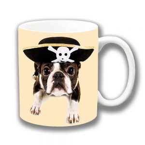 Boston Terrier Puppy Dog Coffee Mug Pirate Hat Ceramic
