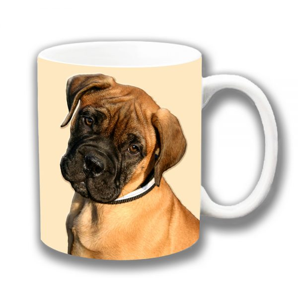 French Bordeaux Puppy Dog Coffee Mug Cream Ceramic