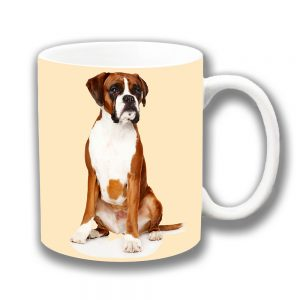 Boxer Dog Coffee Mug Young Tan White Ceramic Cream