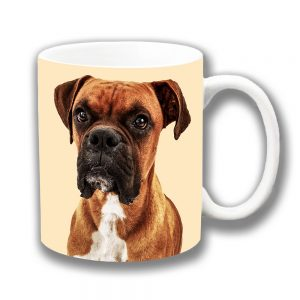 Boxer Dog Coffee Mug Adult Tan White Ceramic