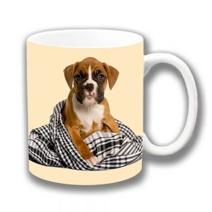 Boxer Puppy Dog Coffee Mug Pup Blanket Ceramic Cream