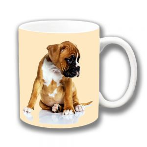 Boxer Puppy Dog Coffee Mug Chubby Tan White Pup