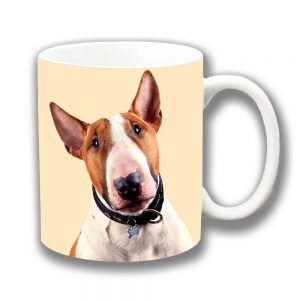 Bull Terrier Coffee Mug Adult Tan White Ceramic Cream