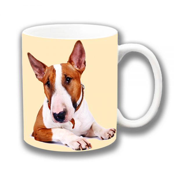 Bull Terrier Coffee Mug Adult White Tan Ceramic Cream