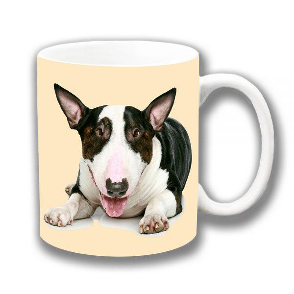 Bull Terrier Coffee Mug White Brown Brindle Ceramic Cream