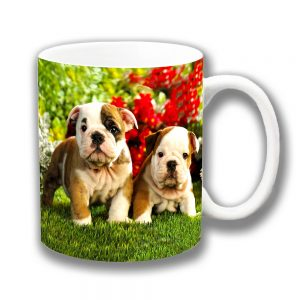 English Bulldog Pups Coffee Mug Tan White Garden Flowers