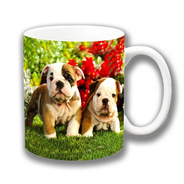 English Bulldog Pups Coffee Mug Tan White Garden Flowers