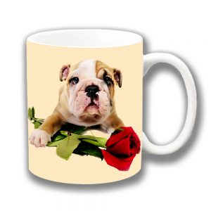English Bulldog Pup Coffee Mug White Tan Red Rose