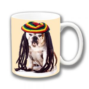 English Bulldog Coffee Mug White Tan Jamaican Rasta Dreadlocks