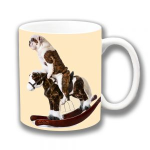 English Bulldog Coffee Mug Funny White Brindle Rocking Horse