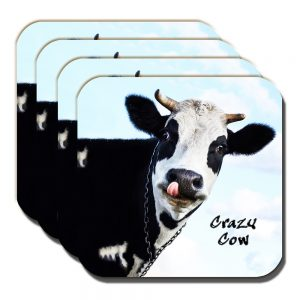 Crazy Cow Coaster Funny Message Black White Dairy Cow - Set of 4