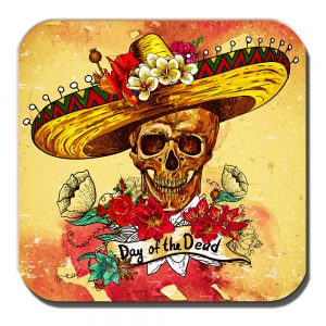 Sombrero Skull Coaster Mexican Sugar Skull Day of the Dead