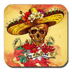 Sombrero Skull Coaster Mexican Sugar Skull Day of the Dead
