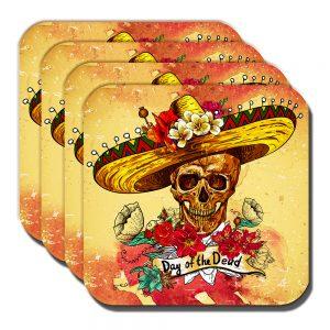 Sombrero Skull Coaster Mexican Sugar Skull Day of the Dead - Set of 4