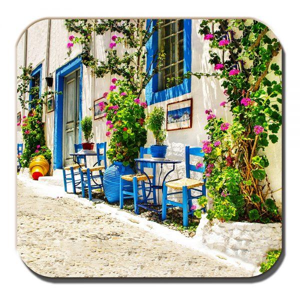 Greece Scene Coaster Village Street Greek Island Summer