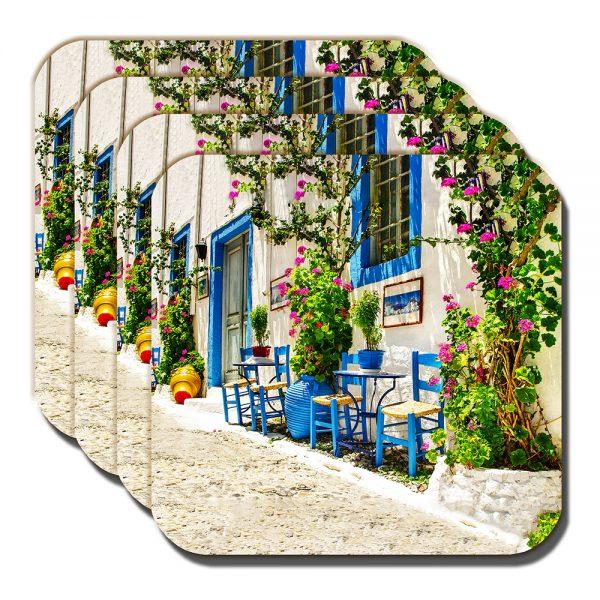 Greece Scene Coaster Village Street Greek Island Summer - Set of 4