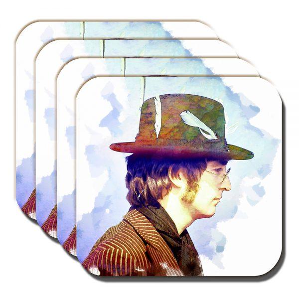 John Lennon Coaster The Beatles Musician Liverpool Artistic - Set of 4