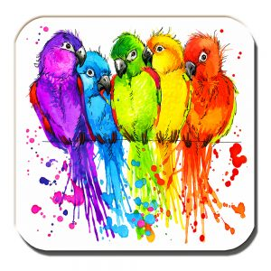 Lovebirds Coaster Artistic Modern Bright Colours White