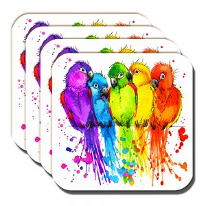 Lovebirds Coaster Artistic Modern Bright Colours White - Set of 4