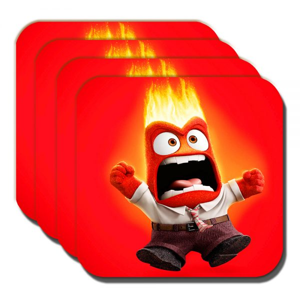 Anger Coaster Inside Out Cartoon Film Character Red - Set of 4