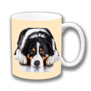 Australian Shepherd Dog Coffee Mug White Black Tan