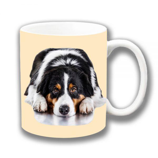 Australian Shepherd Dog Coffee Mug White Black Tan