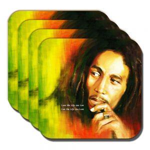 Bob Marley Coaster Jamaican Singer Musician Live Life You Love - Set of 4