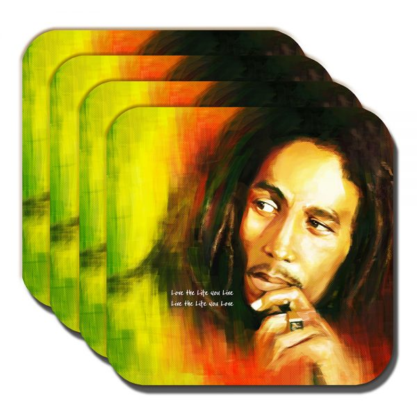 Bob Marley Coaster Jamaican Singer Musician Live Life You Love - Set of 4