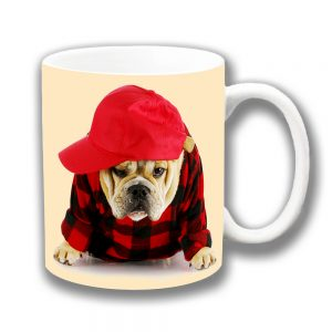 English Bulldog Coffee Mug Pup Baseball Hat Shirt Ceramic