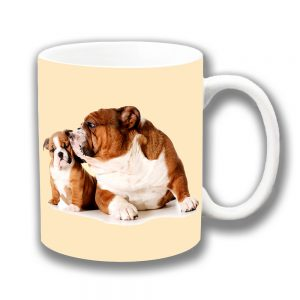 English Bulldogs Coffee Mug Adult Pup Kiss Ceramic Cream