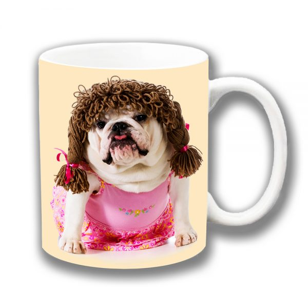 English Bulldog Coffee Mug White Pink Dress Brown Pigtails