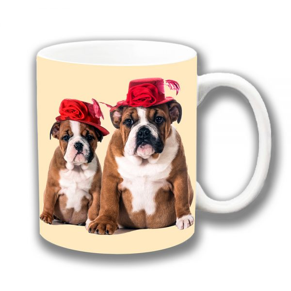 English Bulldogs Coffee Mug Tan White Pup Young Red Hats