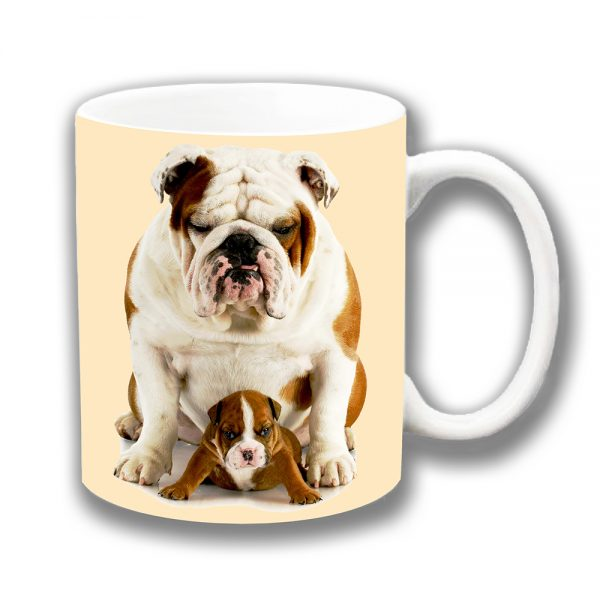 English Bulldogs Coffee Mug Puppy Adult White Tan Ceramic