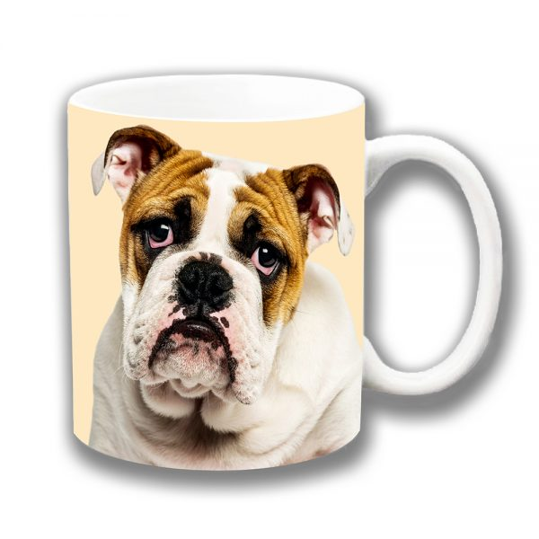 English Bulldog Coffee Mug Young Dog White Tan Sad Sorrowful