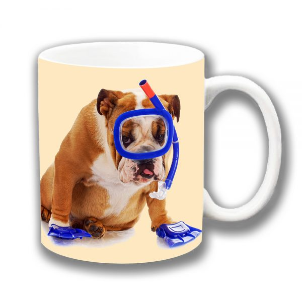 English Bulldog Coffee Mug White Tan Young Dog Snorkel Flippers